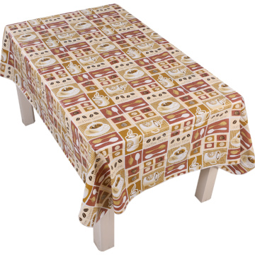 Tablecloth PE with Needle-punched Cotton Coffee Tasty