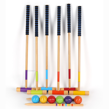 GIBBON Six Player Deluxe Croquet Set with Wooden Mallets
