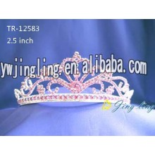 Pink crystal wedding crowns bridal tiaras