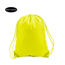 Yellow sport nylon packsack bag with draswtring
