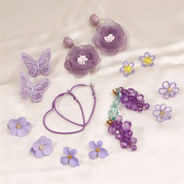 LATS Korean Purple Fashion Fresh Dangle Earring 2020 Flowers Butterfly Round Heart Grape Earrings for Women Brincos Cute Jewelry