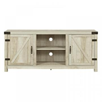 Barn Door TV Stand With Side Doors Brown