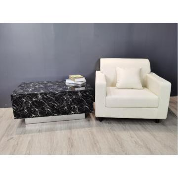 Black Glass Marble MDF Coffee Table