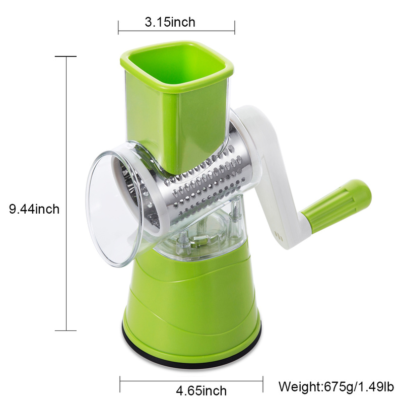 Vegetable Cutter Round Slicer Potato Carrot Onion Grater Slicer with 3 Stainless Steel Chopper Blades Kitchen Accessories