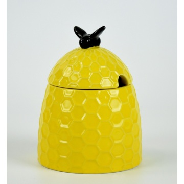 Yellow bee shape food canister ceramic with lid