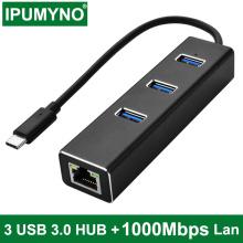 USB C Hub 3.0 3 Port Type C RJ45 Hub Splitter 10/100/1000M Ethernet Adapter Network Card Lan For Macbook Pro Air Accessories