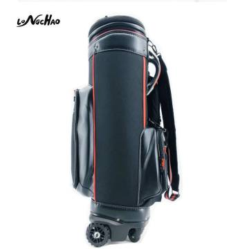 2020 Hot Sale Black PU Golf Bag with hat and wheels