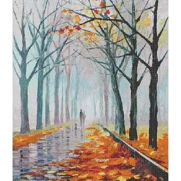 Glass Mosaic Tiles Poetic Landscape Oil Painting Mural