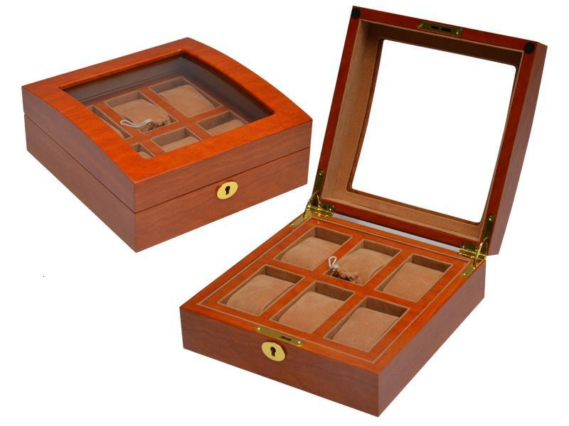 Wb 3035 Watch Box Hold 6 Watches With Khaki Velvet