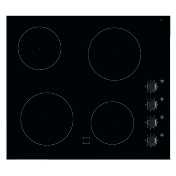 Black Glass Electric Hobs with 4 Knobs