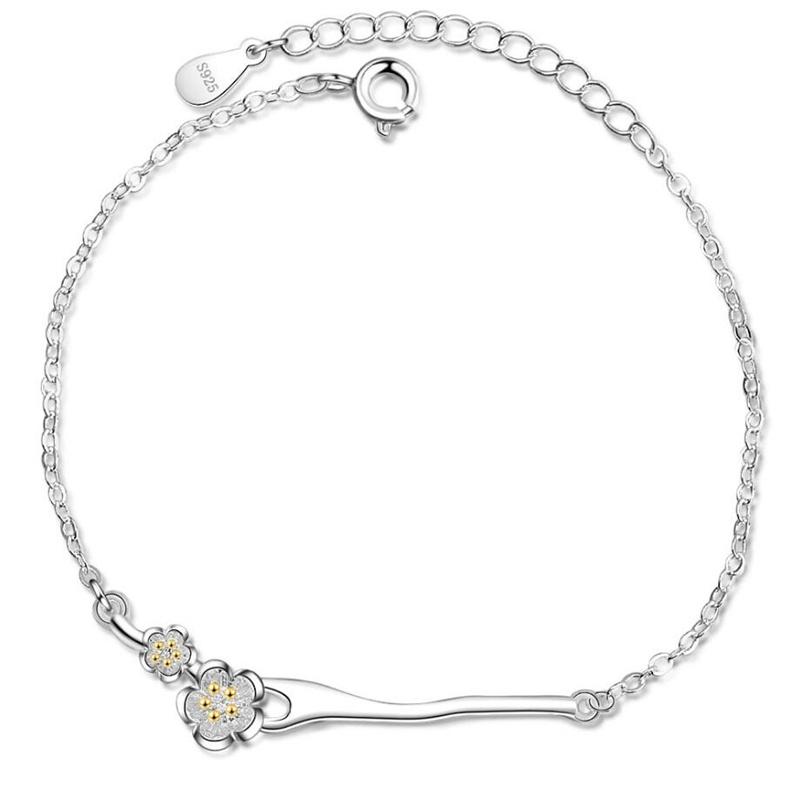 Sole Memory Peach Blossom Branch Literary Fresh 925 Sterling Silver Female Resizable Bracelets SBR195