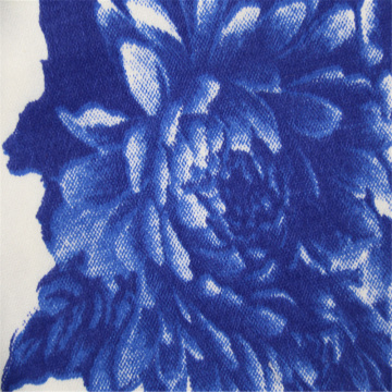 Blue Flower With Cotton Elastic Satin Fabric