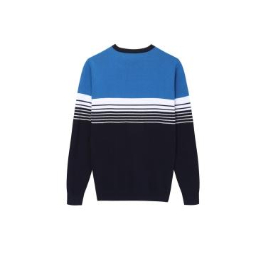 Men's Knitted Multi Color Striped Crew-neck Pullover