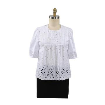 Summer Cotton Ebroidery Blouses Tops