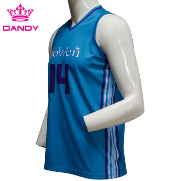 নীল sublimated বাস্কেটবল শার্ট