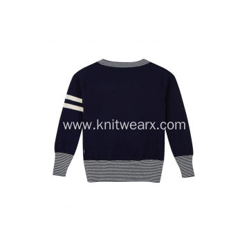 Boy's Knitted Contrast Color Arm Detailed School Cardigan