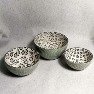 Embossed glaze stoneware dinner set