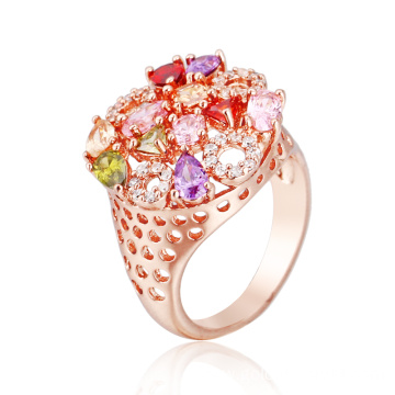 Fashionable Multicolor Stone Round Ring for Women
