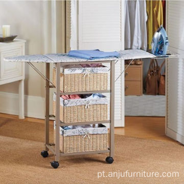 Laundry Room Portable Ironing Board Center Station Storage Cart With Baskets