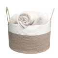 Woven Cotton Rope Storage Basket Home Laundry Hamper