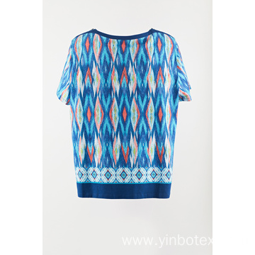 Ladies printed knit pullover