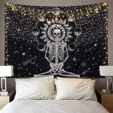 Wall-mounted Human Skeleton Blanket Tree of Life Sacred Bodhi Tapestry Skeleton Picnic Beach Living Room Tapestry