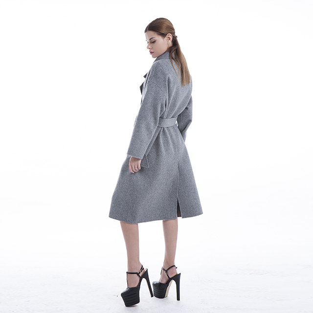 Grey cashmere coat side