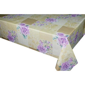 Elegant Tablecloth with Non woven backing Fitted White