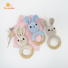 Soft Wooden Ring Crochet Bunny Rattle Teething Toys