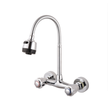 Wall Mounted Kitchen Faucets SS Dual Hole 360 swivel kitchen Cold and Hot Mixer Tap with universal head