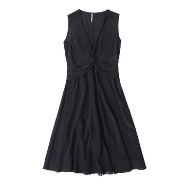 Women Casual Deep-V Collar Sleeveless Home Lady Dresses