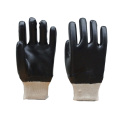 Black Pvc Coated Glove.Smooth Finish.Knit Wrist
