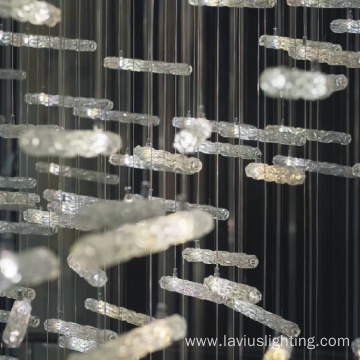 New creative  lobby cylindrical crystal chandelier lamp