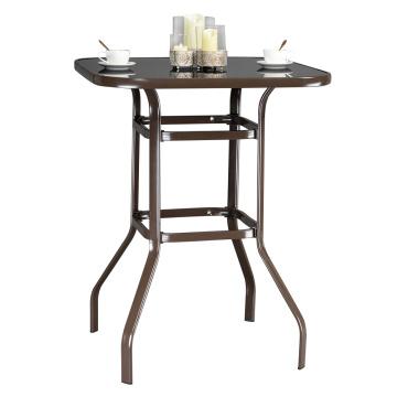 [US Warehouse]Wrought Iron Glass High Bar Table Patio Bar Table Brown (Bar supplies)