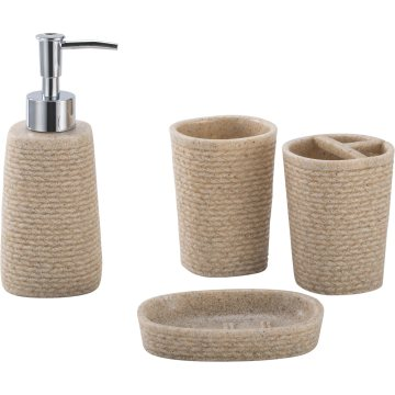 Tasteful Polyresin Bathroom Accessory Set 4-Piece