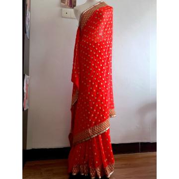 Sarees Indian Dress Sari Women Red Embroidered Georgette Bollywood Wedding Saree Indian Costume Hint Elbiseler Hindistan