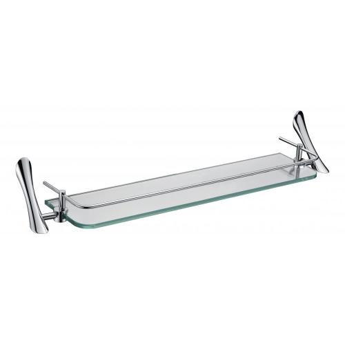 Sytlist glass shelf with rail temper clear glass
