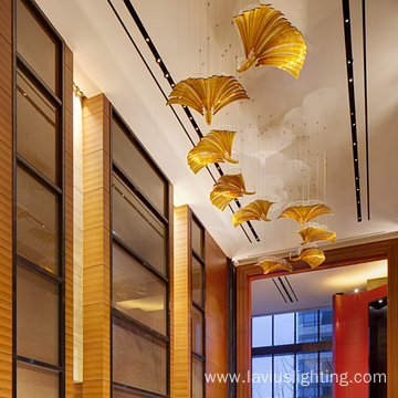 Customizable attractive hotel lobby amber crystal pendant