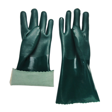 Green PVC coated chemical gloves cotton linning