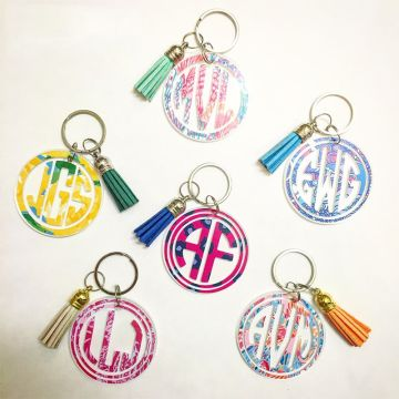 Acrylic Circle Painted Key Chain