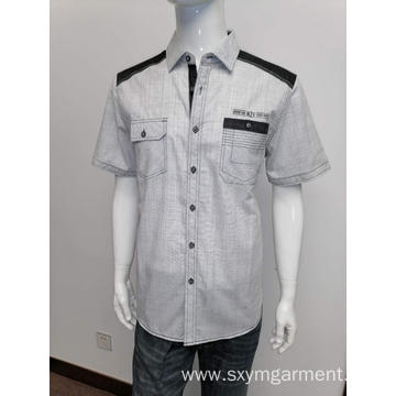 Mens cotton yd slubbed fabric short sleeve shirt