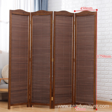 Whitewashed Wooden 4 Panel Screen, Folding Louvered Room Divider with the distressed look printing