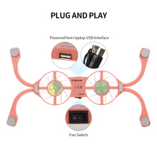 DR-S01 Laptop Cooling Pad Folding Portable Cooling Pad USB Powered Blue Light Effect with Double Fans Cooling Stand Pink
