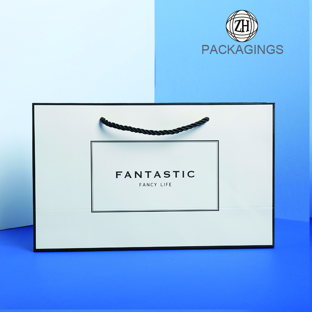 White shopping paper bag with custom logo