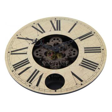 14 Inch Retro Wooden Pendulum Gear Wall Clock