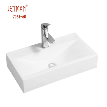 China manufacturer washroom one piece ceramic vanity sink