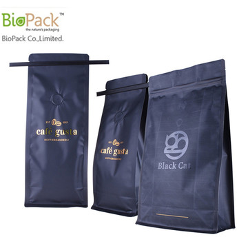 Biodegradable Square bottom Stand Up Coffee Pouch with Tin tie and Wrappers Manufacturer China