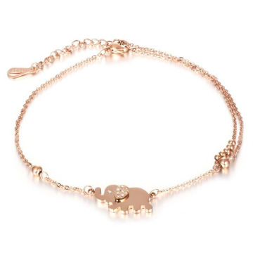 Stainless steel rose gold elephant ankle bracelet