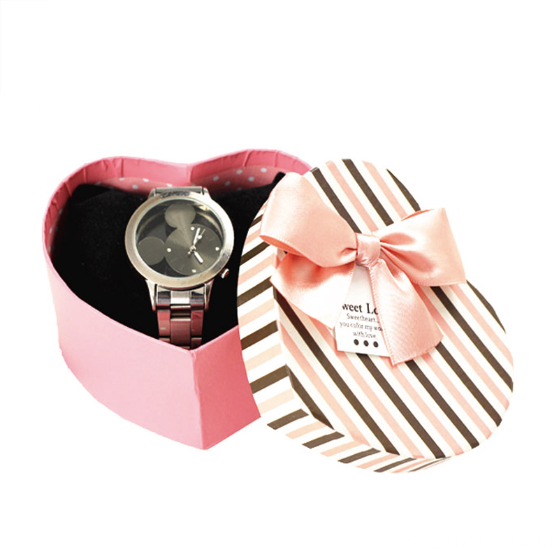 Heart Shaped Watch Paper Box With Ribbon