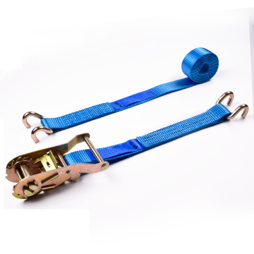 "2"" 2 Ton 50mm Iron Handle Ratchet Buckle Tie Down Blue Straps With 2 Inch E-Track Fitting"